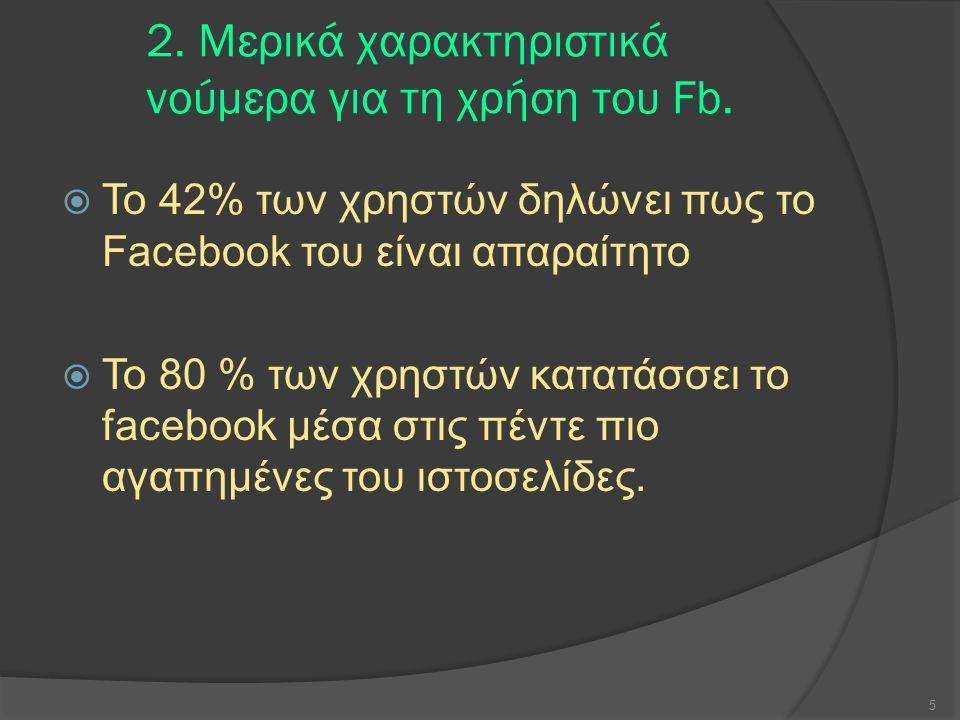 2. Μερικά χαρακτηριστικά νούμερα για τη χρήση του Fb.  Το 42% των χρηστών δηλώνει πως το Facebook του είναι απαραίτητο  Το 80 % των χρηστών κατατάσσ