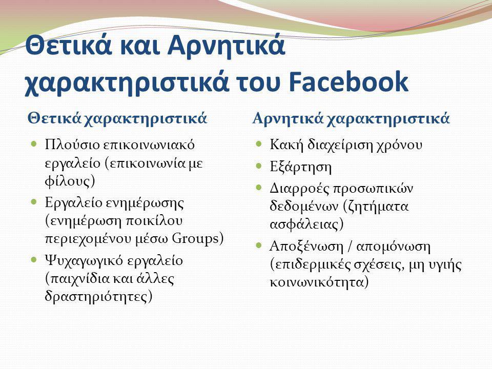 Θετικά και Αρνητικά χαρακτηριστικά του Facebook Θετικά χαρακτηριστικά Αρνητικά χαρακτηριστικά  Πλούσιο επικοινωνιακό εργαλείο (επικοινωνία με φίλους)