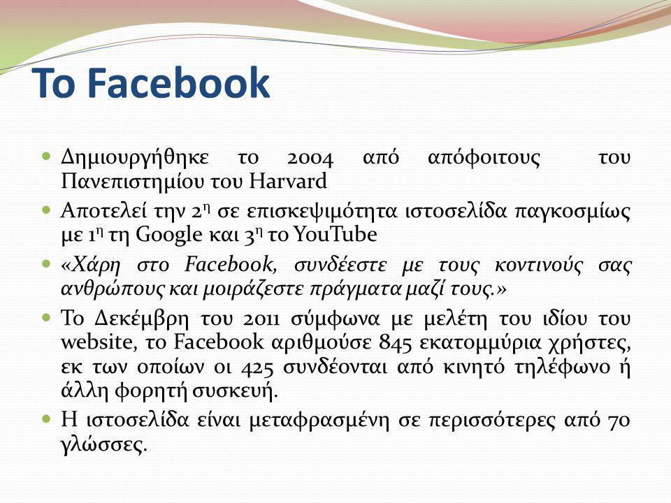 Το Facebook  Δημιουργήθηκε το 2004 από απόφοιτους του Πανεπιστημίου του Harvard  Αποτελεί την 2 η σε επισκεψιμότητα ιστοσελίδα παγκοσμίως με 1 η τη