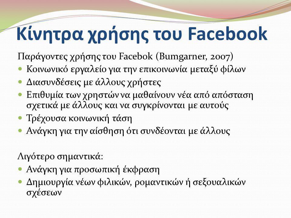 Κίνητρα χρήσης του Facebook Παράγοντες χρήσης του Facebok (Bumgarner, 2007)  Κοινωνικό εργαλείο για την επικοινωνία μεταξύ φίλων  Διασυνδέσεις με άλ