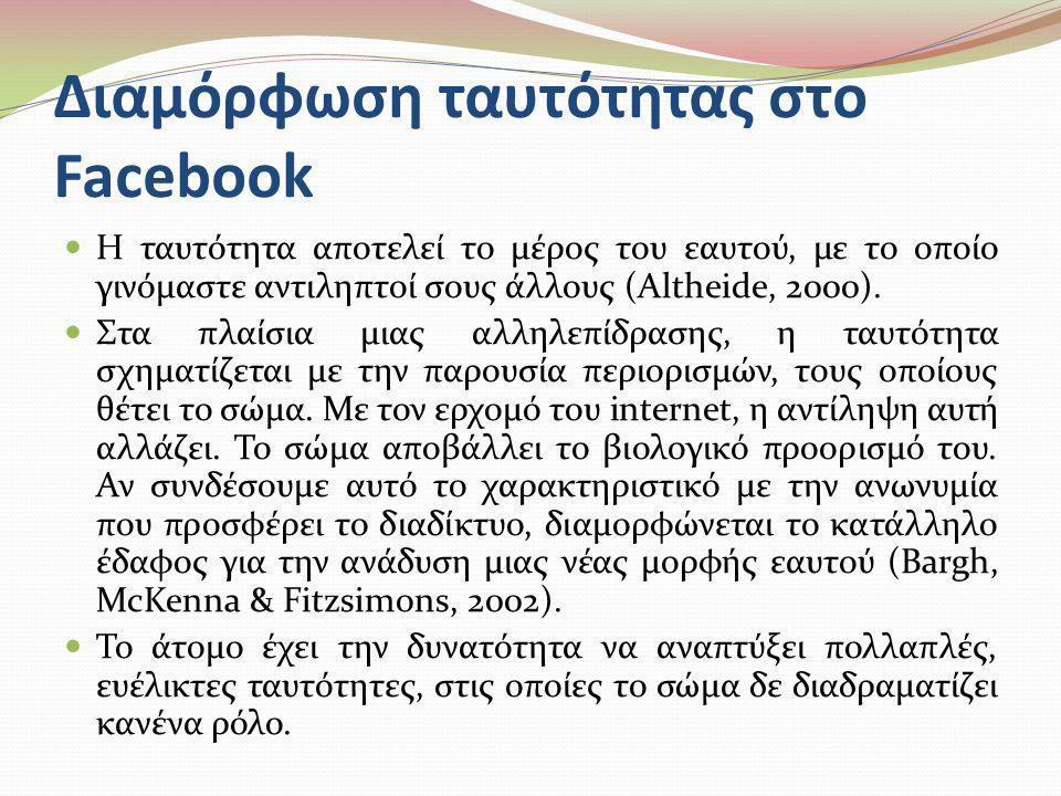 Διαμόρφωση ταυτότητας στο Facebook  Η ταυτότητα αποτελεί το μέρος του εαυτού, με το οποίο γινόμαστε αντιληπτοί σους άλλους (Altheide, 2000).  Στα πλ