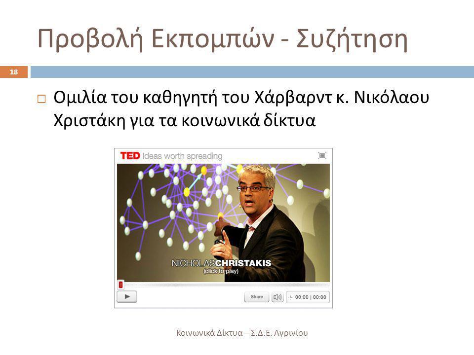 Προβολή Εκπομπών - Συζήτηση  Ομιλία του καθηγητή του Χάρβαρντ κ. Νικόλαου Χριστάκη για τα κοινωνικά δίκτυα 18 Κοινωνικά Δίκτυα – Σ. Δ. Ε. Αγρινίου