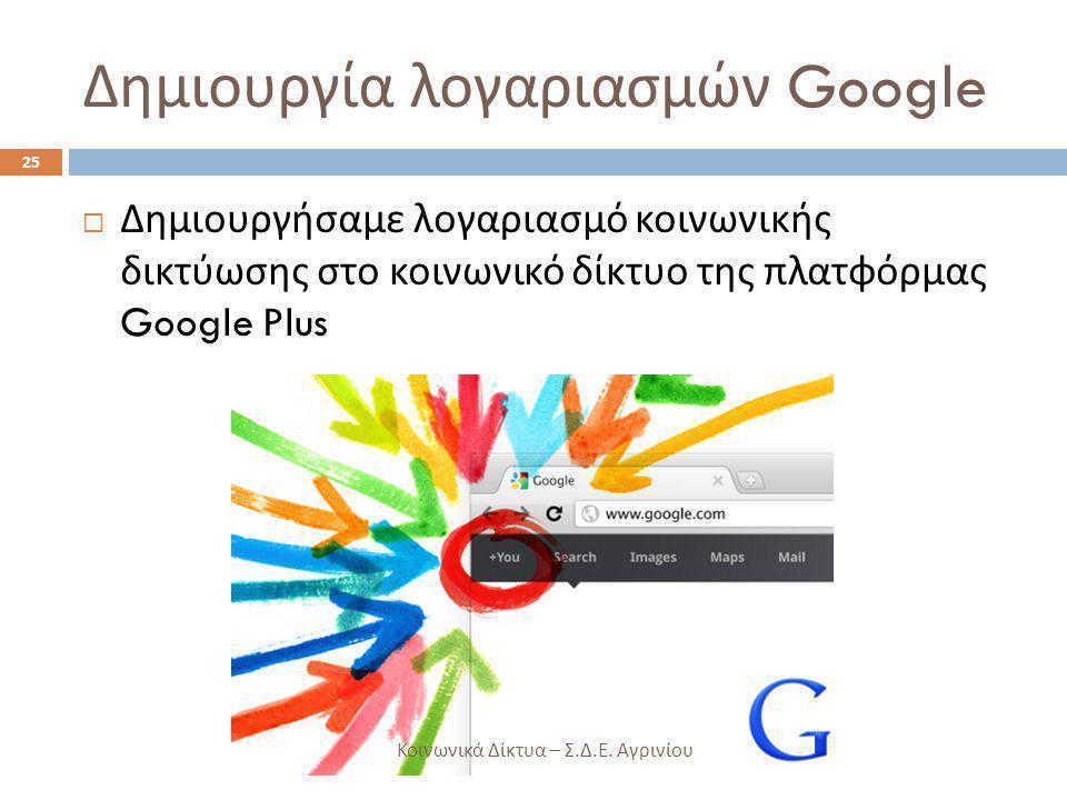 Δημιουργία λογαριασμών Google  Δημιουργήσαμε λογαριασμό κοινωνικής δικτύωσης στο κοινωνικό δίκτυο της πλατφόρμας Google Plus 25 Κοινωνικά Δίκτυα – Σ.