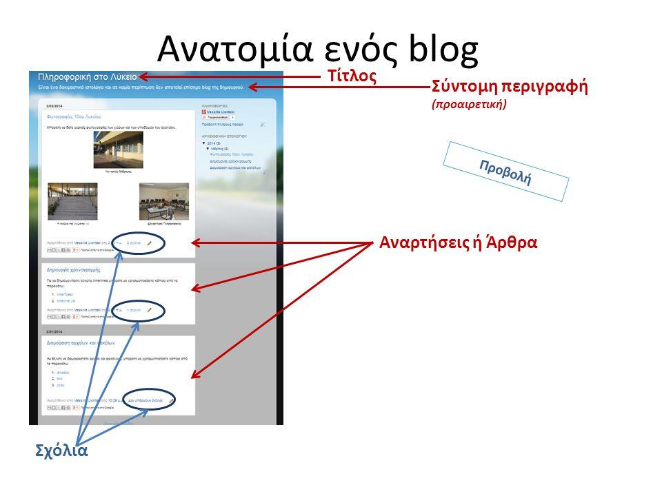 Ανατομία ενός blog Τίτλος Σύντομη περιγραφή (προαιρετική) Αναρτήσεις ή Άρθρα Σχόλια Προβολή