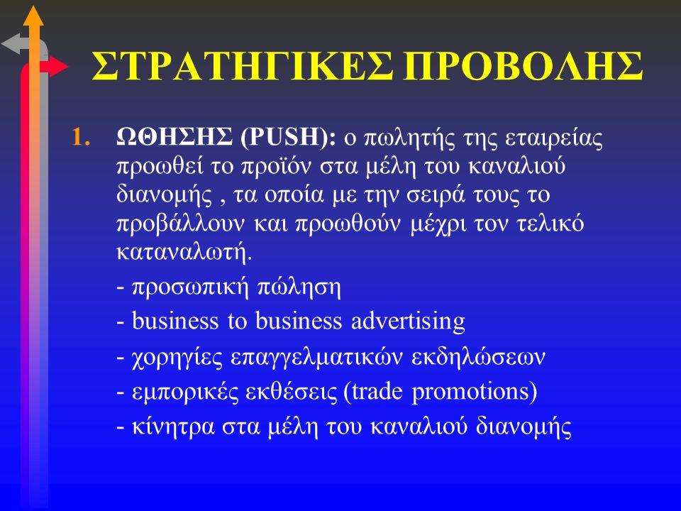 ΣΤΡΑΤΗΓΙΚΕΣ ΠΡΟΒΟΛΗΣ 1.ΩΘΗΣΗΣ (PUSH): ο πωλητής της εταιρείας προωθεί το προϊόν στα μέλη του καναλιού διανομής, τα οποία με την σειρά τους το προβάλλο