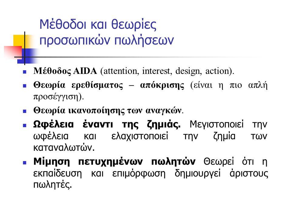 Μέθοδοι και θεωρίες προσωπικών πωλήσεων  Μέθοδος AIDA (attention, interest, design, action).  Θεωρία ερεθίσματος – απόκρισης (είναι η πιο απλή προσέ