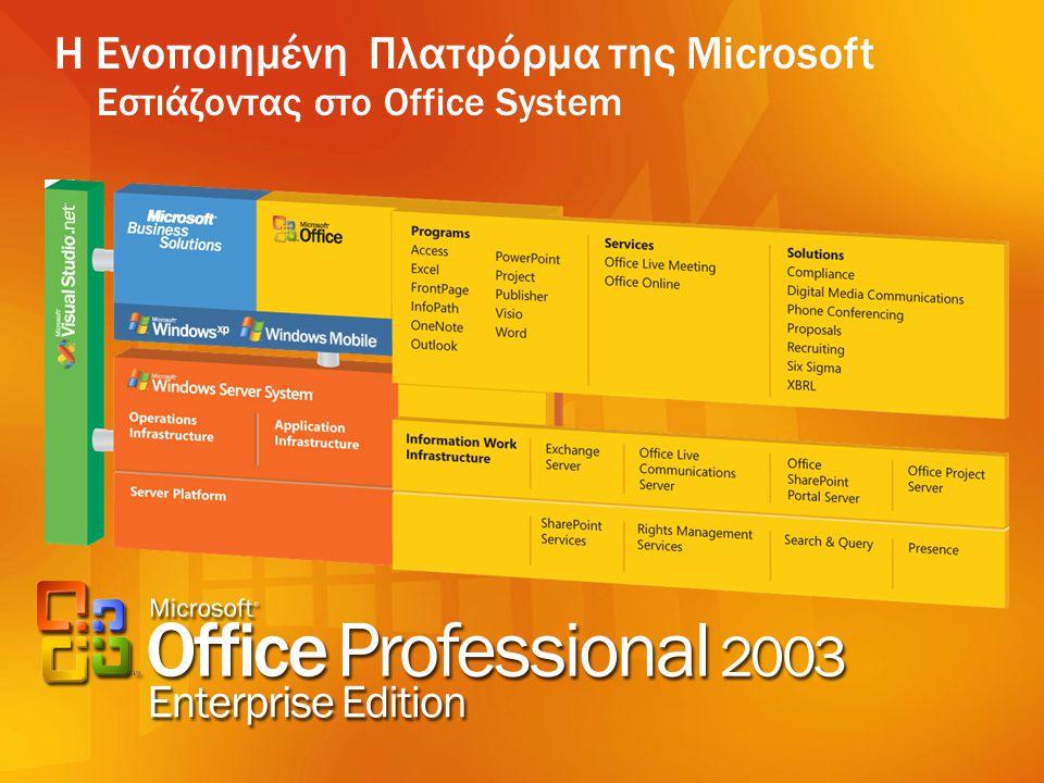 Εστιάζοντας στο Office System Η Ενοποιημένη Πλατφόρμα της Microsoft