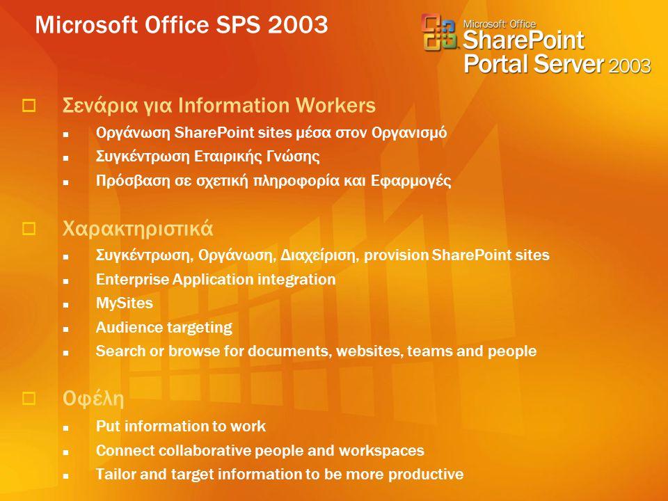 Microsoft Office SPS 2003  Σενάρια για Information Workers  Οργάνωση SharePoint sites μέσα στον Οργανισμό  Συγκέντρωση Εταιρικής Γνώσης  Πρόσβαση