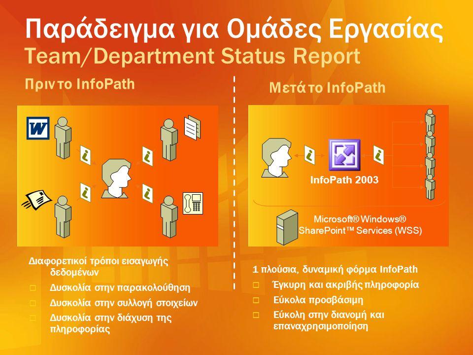 1 πλούσια, δυναμική φόρμα InfoPath   Έγκυρη και ακριβής πληροφορία   Εύκολα προσβάσιμη   Εύκολη στην διανομή και επαναχρησιμοποίηση Διαφορετικοί
