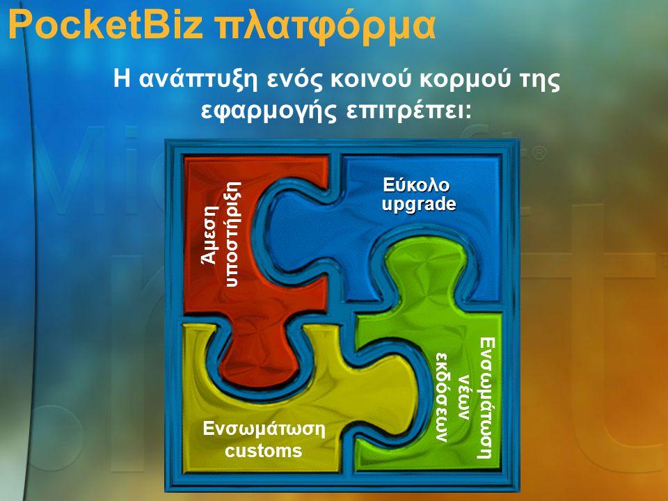 Εύκολοupgrade Άμεση υποστήριξη Ενσωμάτωση customs PocketBiz πλατφόρμα Η ανάπτυξη ενός κοινού κορμού της εφαρμογής επιτρέπει: Ενσωμάτωση νέων εκδόσεων