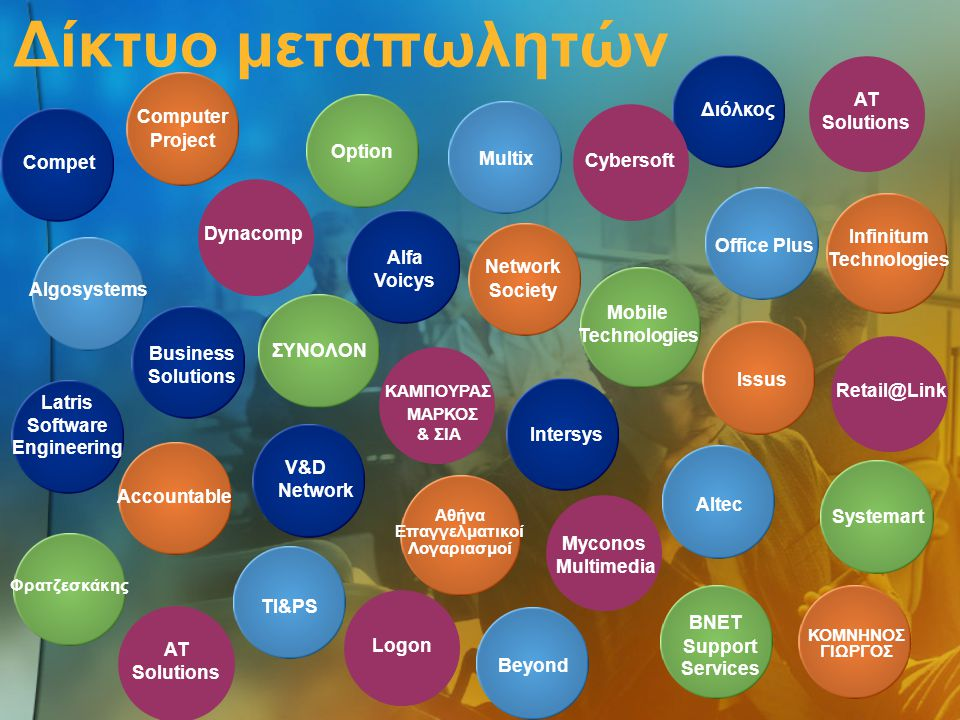 Δίκτυο μεταπωλητών Algosystems Computer Project Compet Infinitum Technologies Latris Software Engineering Mobile Technologies Office Plus Systemart TI