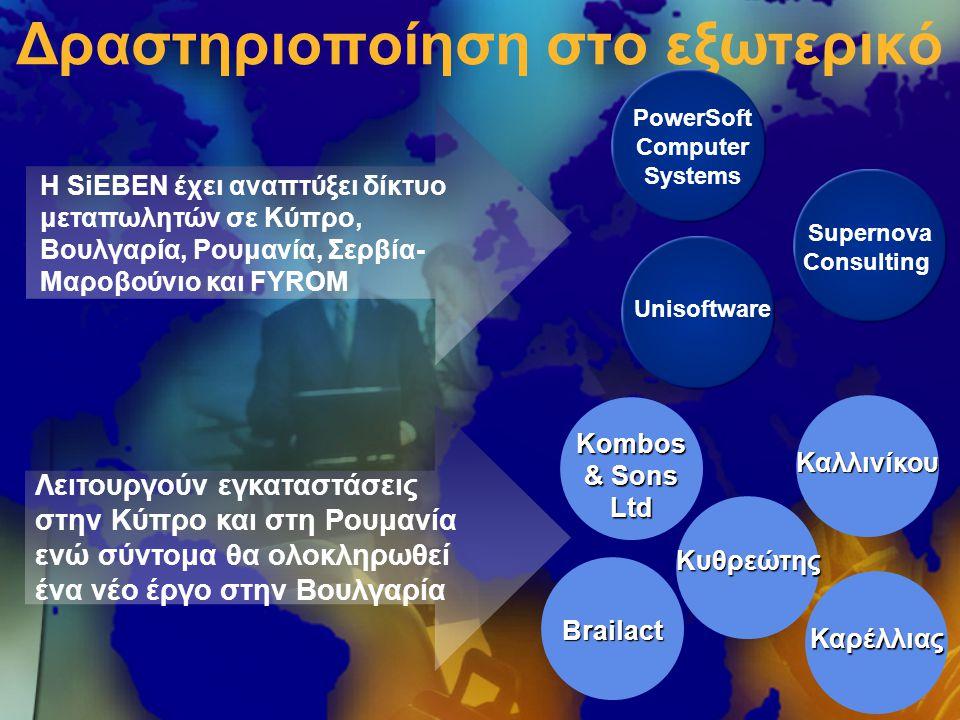 Δραστηριοποίηση στο εξωτερικό PowerSoft Computer Systems Unisoftware Supernova Consulting Brailact Kombos & Sons Ltd Καλλινίκου Καρέλλιας Κυθρεώτης Η