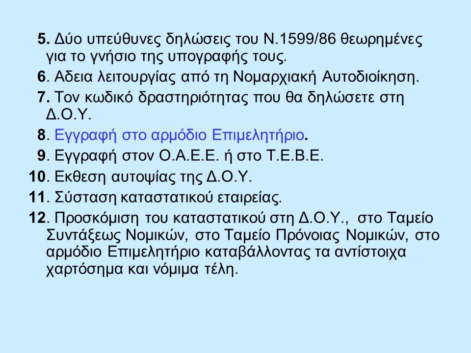 5. Δύο υπεύθυνες δηλώσεις του Ν.1599/86 θεωρημένες για το γνήσιο της υπογραφής τους. 6. Αδεια λειτουργίας από τη Νομαρχιακή Αυτοδιοίκηση. 7. Τον κωδικ