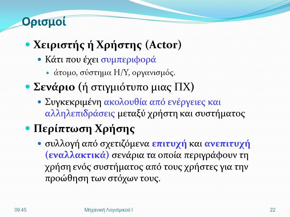 Ορισμοί  Χειριστής ή Χρήστης (Actor)  Κάτι που έχει συμπεριφορά  άτομο, σύστημα Η/Υ, οργανισμός.  Σενάριο (ή στιγμιότυπο μιας ΠΧ)  Συγκεκριμένη α
