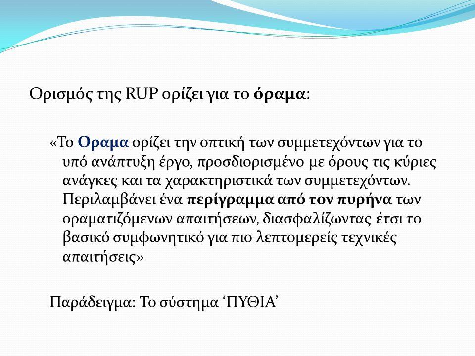 Ορισμός της RUP ορίζει για το όραμα: «Το Οραμα ορίζει την οπτική των συμμετεχόντων για το υπό ανάπτυξη έργο, προσδιορισμένο με όρους τις κύριες ανάγκε