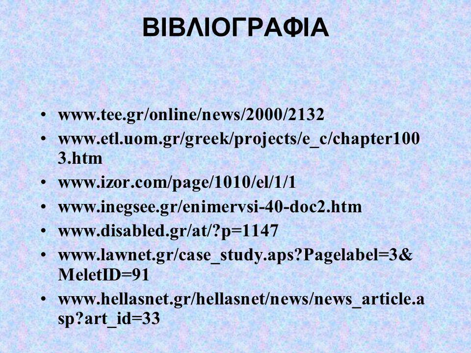 ΒΙΒΛΙΟΓΡΑΦΙΑ •www.tee.gr/online/news/2000/2132 •www.etl.uom.gr/greek/projects/e_c/chapter100 3.htm •www.izor.com/page/1010/el/1/1 •www.inegsee.gr/enim