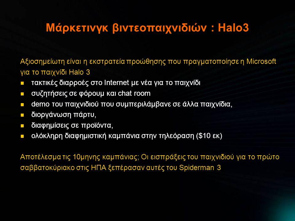 Μάρκετινγκ βιντεοπαιχνιδιών : Halo3 Αξιοσημείωτη είναι η εκστρατεία προώθησης που πραγματοποίησε η Microsoft για το παιχνίδι Halo 3  τακτικές διαρροέ