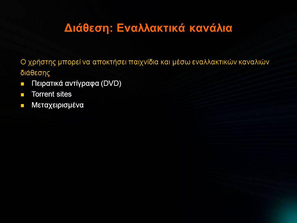 Διάθεση: Εναλλακτικά κανάλια Ο χρήστης μπορεί να αποκτήσει παιχνίδια και μέσω εναλλακτικών καναλιών διάθεσης  Πειρατικά αντίγραφα (DVD)  Torrent sit
