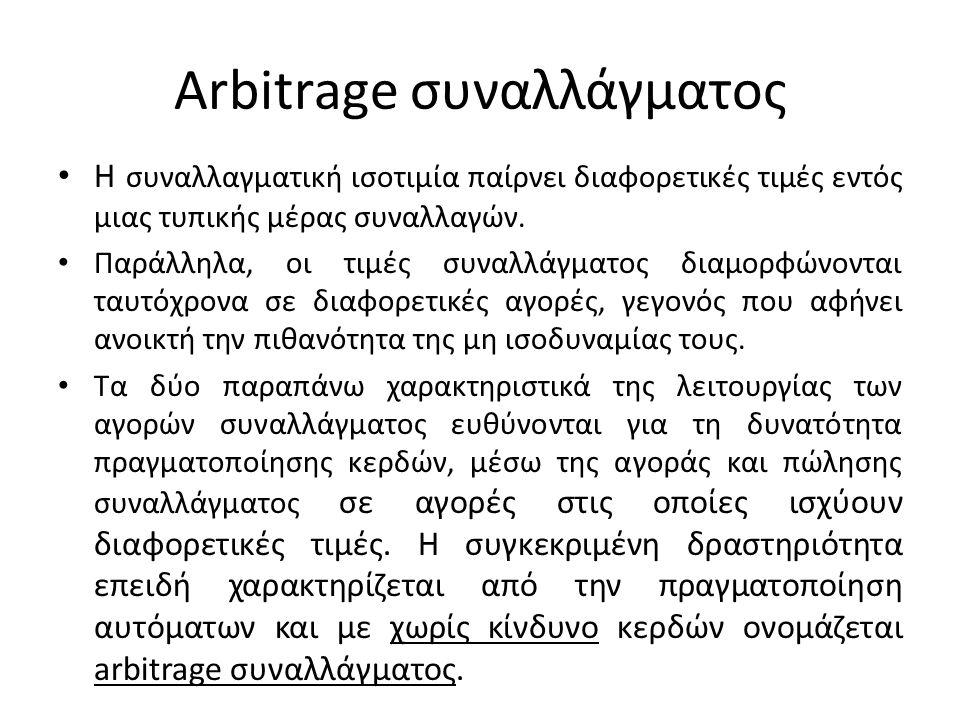 Τριγωνικό arbitrage • Φανταστείτε ότι κατά την έναρξη των διαπραγματεύσεων σε συνάλλαγμα, παρατηρείται μια μονομερής μεταβολή της ισοτιμίας του ΗΠΑ$ ως προς το ΕΥΡΩ€.