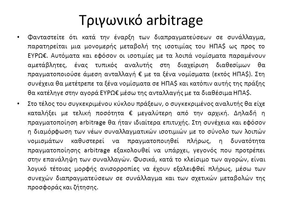 Παράδειγμα τριγωνικού arbitrage • Ισοτιμία $1 = € 1 • Ισοτιμία $1 = ₤ 0,5 (Λίρα Αγγλίας) • Ισοτιμία ₤1 = €2.5 • Διαθέσιμο προς επένδυση χρηματικό ποσό: 1 εκ.