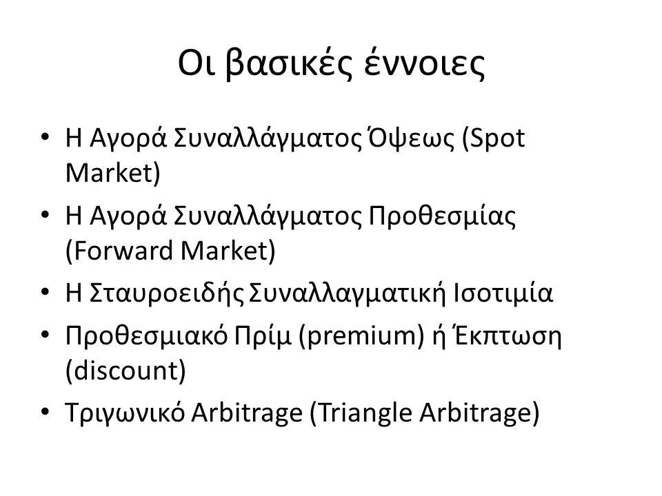 Συναλλαγματική ισοτιμία όψεως • H συναλλαγματική ισοτιμία όψεως είναι η τιμή του νομίσματος μιας χώρας, ακριβώς τη χρονική στιγμή που πραγματοποιείται η συναλλαγή.