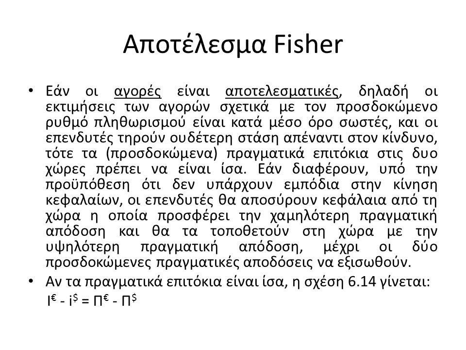 Διεθνές Αποτέλεσμα Fisher • τέταρτη θεωρία, γνωστή σαν διεθνές αποτέλεσμα του Fisher, συνδέει τη διαφορά μεταξύ των ονομαστικών επιτοκίων με την προσδοκώμενη μεταβολή στην τρέχουσα συναλλαγματική ισοτιμία.