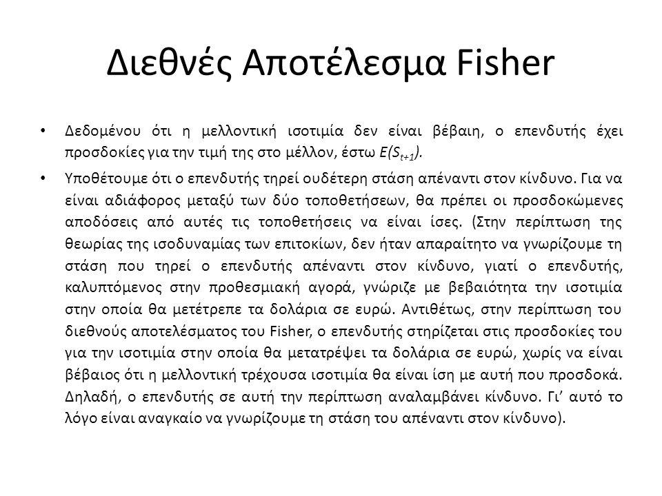 Διεθνές Αποτέλεσμα Fisher • Εξισώνοντας τις αποδόσεις από τις δύο τοποθετήσεις έχουμε: • Αφαιρώντας τη μονάδα από κάθε πλευρά λαμβάνουμε: • Εάν το i $ είναι μικρό και/ή η τοποθέτηση είναι πολύ βραχυπρόθεσμη, ο όρος 1+i $ τείνει προς τη μονάδα και η παραπάνω σχέση μπορεί να γραφεί: