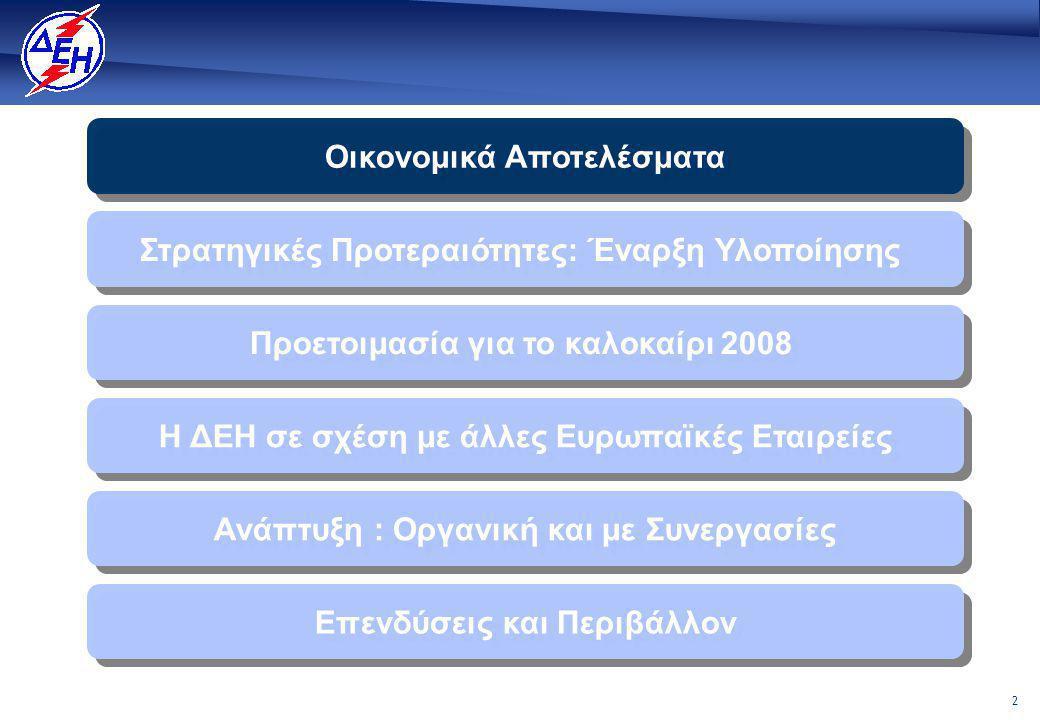 2 Οικονομικά Αποτελέσματα Η ΔΕΗ σε σχέση με άλλες Ευρωπαϊκές Εταιρείες Στρατηγικές Προτεραιότητες: Έναρξη Υλοποίησης Επενδύσεις και Περιβάλλον Ανάπτυξη : Οργανική και με Συνεργασίες Προετοιμασία για το καλοκαίρι 2008