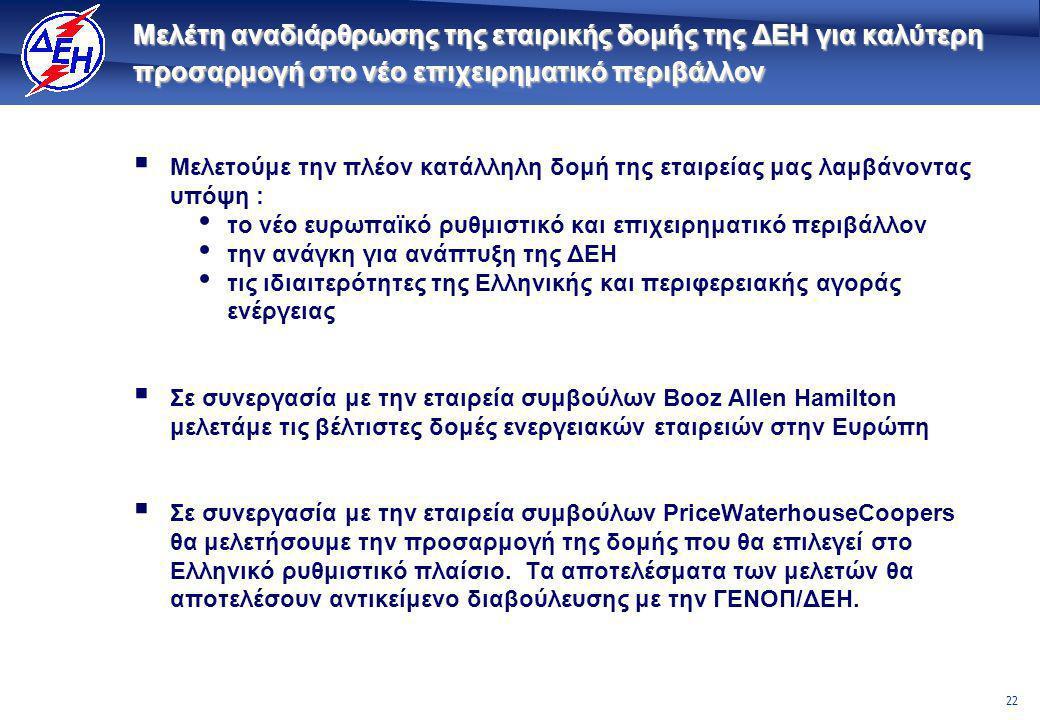 22 Μελέτη αναδιάρθρωσης της εταιρικής δομής της ΔΕΗ για καλύτερη προσαρμογή στο νέο επιχειρηματικό περιβάλλον  Μελετούμε την πλέον κατάλληλη δομή της εταιρείας μας λαμβάνοντας υπόψη : • το νέο ευρωπαϊκό ρυθμιστικό και επιχειρηματικό περιβάλλον • την ανάγκη για ανάπτυξη της ΔΕΗ • τις ιδιαιτερότητες της Ελληνικής και περιφερειακής αγοράς ενέργειας  Σε συνεργασία με την εταιρεία συμβούλων Booz Allen Hamilton μελετάμε τις βέλτιστες δομές ενεργειακών εταιρειών στην Ευρώπη  Σε συνεργασία με την εταιρεία συμβούλων PriceWaterhouseCoopers θα μελετήσουμε την προσαρμογή της δομής που θα επιλεγεί στο Ελληνικό ρυθμιστικό πλαίσιο.