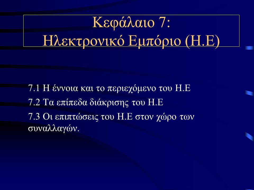 Κεφάλαιο 7: Ηλεκτρονικό Εμπόριο (Η.Ε) 7.1 Η έννοια και το περιεχόμενο του Η.Ε 7.2 Τα επίπεδα διάκρισης του Η.Ε 7.3 Οι επιπτώσεις του Η.Ε στον χώρο των συναλλαγών.