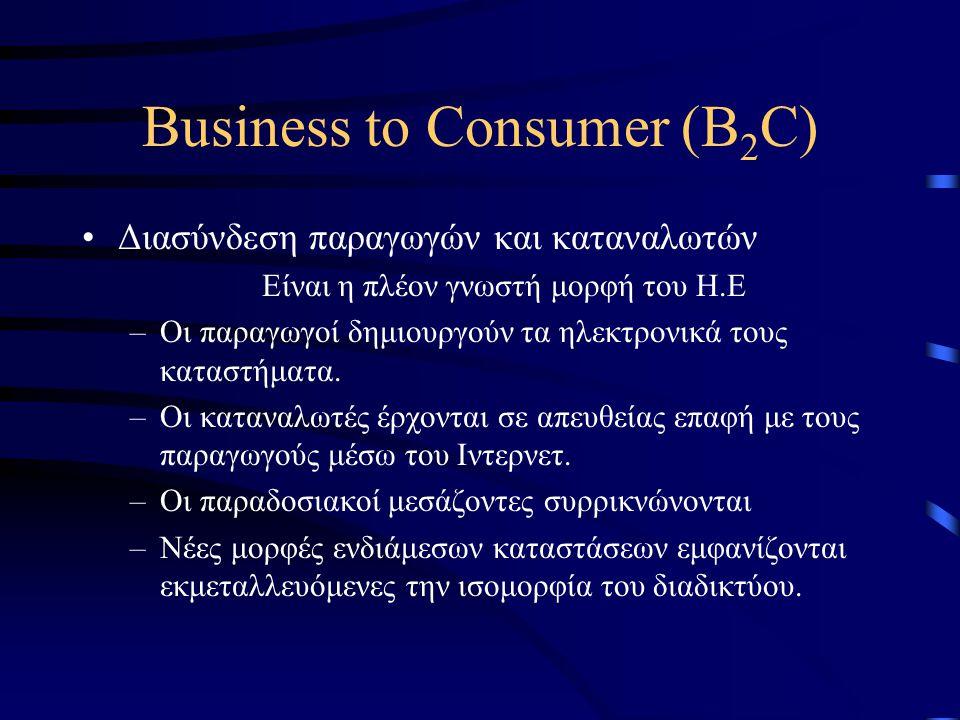 Business to Consumer (B 2 C) •Διασύνδεση παραγωγών και καταναλωτών Είναι η πλέον γνωστή μορφή του Η.Ε –Οι παραγωγοί δημιουργούν τα ηλεκτρονικά τους καταστήματα.