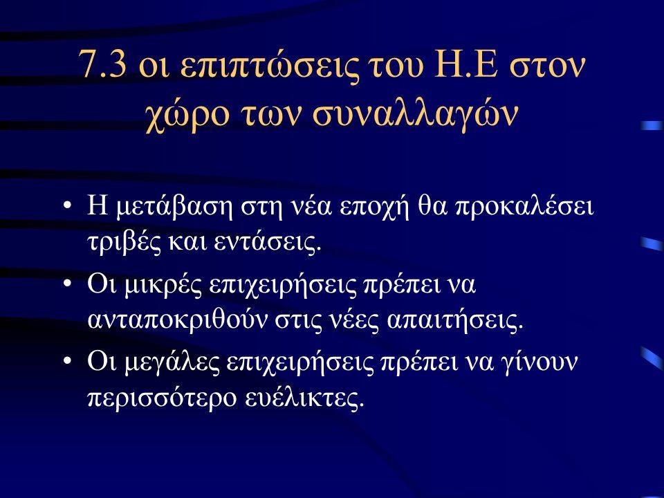 7.3 οι επιπτώσεις του Η.Ε στον χώρο των συναλλαγών •Η μετάβαση στη νέα εποχή θα προκαλέσει τριβές και εντάσεις.