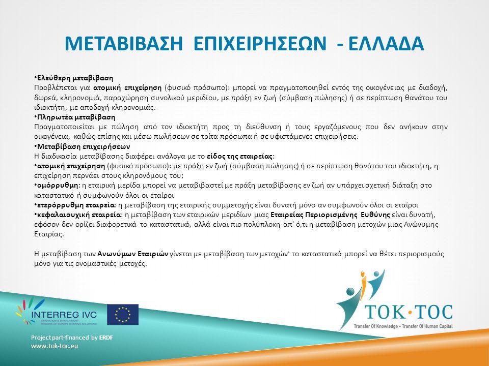 Project part-financed by ERDF www.tok-toc.eu ΜΕΤΑΒΙΒΑΣΗ ΕΠΙΧΕΙΡΗΣΕΩΝ - ΕΛΛΑΔΑ.