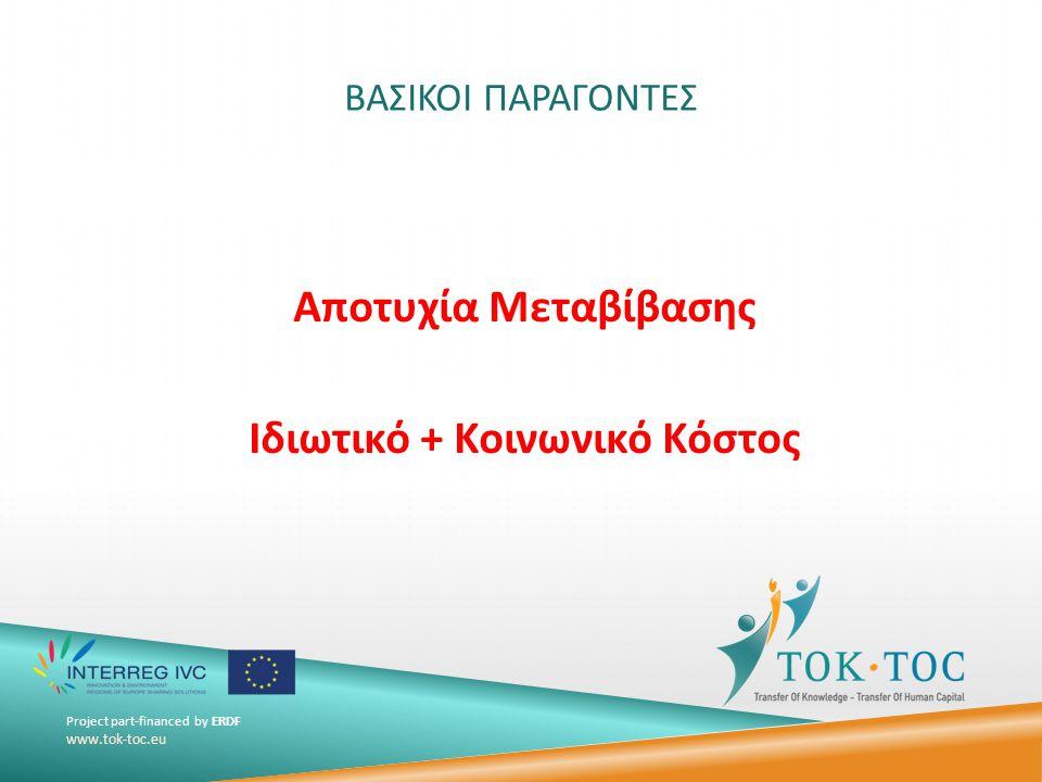 Project part-financed by ERDF www.tok-toc.eu ΒΑΣΙΚΟΙ ΠΑΡΑΓΟΝΤΕΣ Αποτυχία Μεταβίβασης Ιδιωτικό + Κοινωνικό Κόστος
