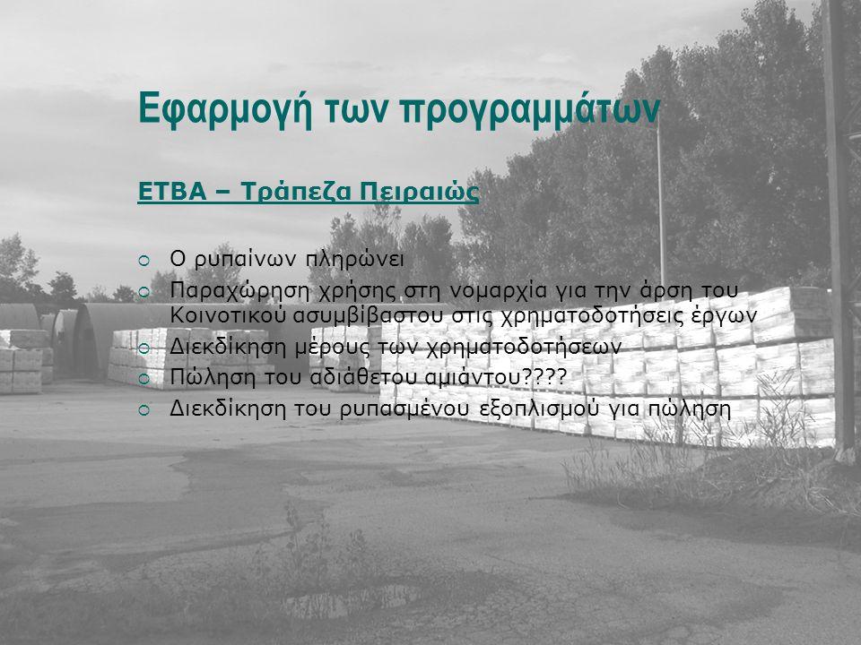 Εφαρμογή των προγραμμάτων ΕΤΒΑ – Τράπεζα Πειραιώς  Ο ρυπαίνων πληρώνει  Παραχώρηση χρήσης στη νομαρχία για την άρση του Κοινοτικού ασυμβίβαστου στις