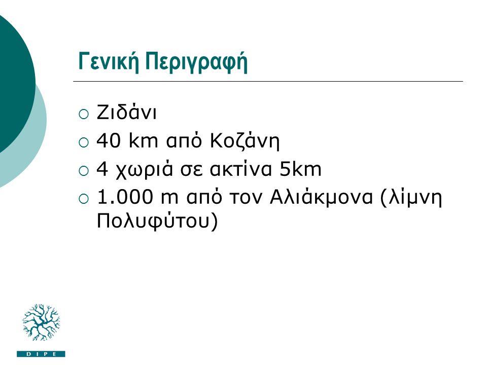 Γενική Περιγραφή  Ζιδάνι  40 km από Κοζάνη  4 χωριά σε ακτίνα 5km  1.000 m από τον Αλιάκμονα (λίμνη Πολυφύτου)