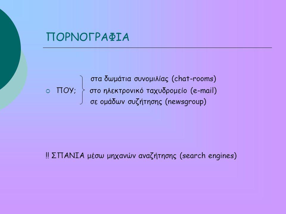 ΠΟΡΝΟΓΡΑΦΙΑ στα δωμάτια συνομιλίας (chat-rooms)  ΠΟΥ; στο ηλεκτρονικό ταχυδρομείο (e-mail) σε ομάδων συζήτησης (newsgroup) !.