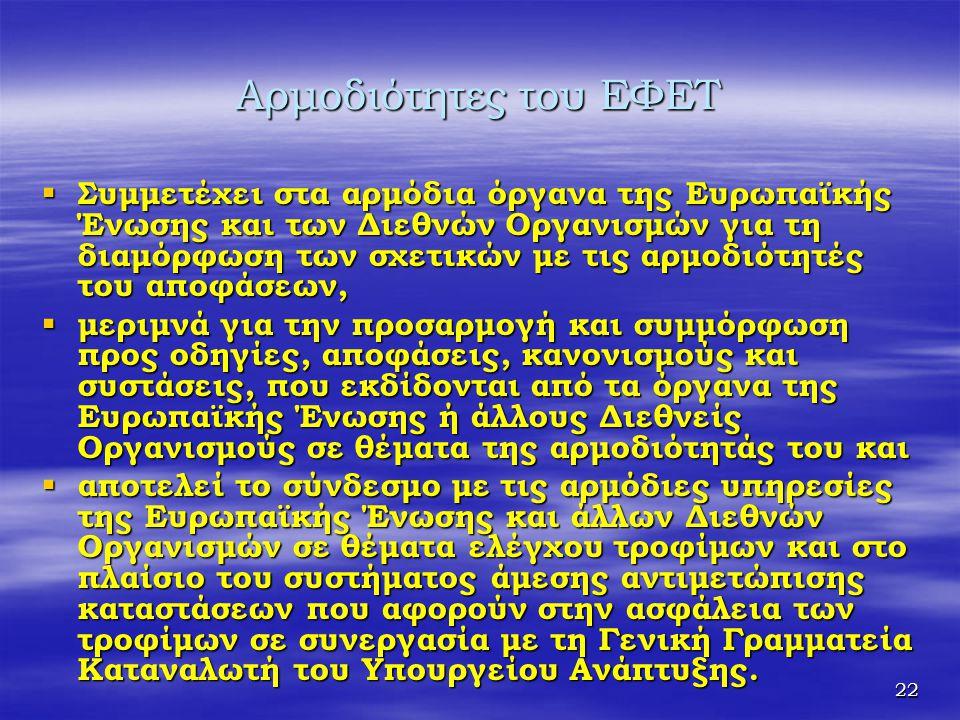22 Αρμοδιότητες του ΕΦΕΤ  Συμμετέχει στα αρμόδια όργανα της Ευρωπαϊκής Ένωσης και των Διεθνών Οργανισμών για τη διαμόρφωση των σχετικών με τις αρμοδι