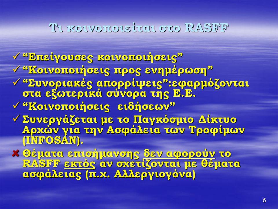"""6 Τι κοινοποιείται στο RASFF  """"Επείγουσες κοινοποιήσεις""""  """"Κοινοποιήσεις προς ενημέρωση""""  """"Συνοριακές απορρίψεις"""":εφαρμόζονται στα εξωτερικά σύνορα"""