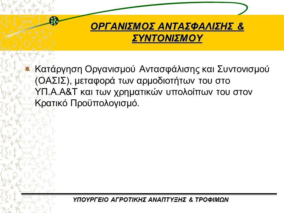 ΥΠΟΥΡΓΕΙΟ ΑΓΡΟΤΙΚΗΣ ΑΝΑΠΤΥΞΗΣ & ΤΡΟΦΙΜΩΝ ΟΡΓΑΝΙΣΜΟΣ ΑΝΤΑΣΦΑΛΙΣΗΣ & ΣΥΝΤΟΝΙΣΜΟΥ Κατάργηση Οργανισμού Αντασφάλισης και Συντονισμού (ΟΑΣΙΣ), μεταφορά των