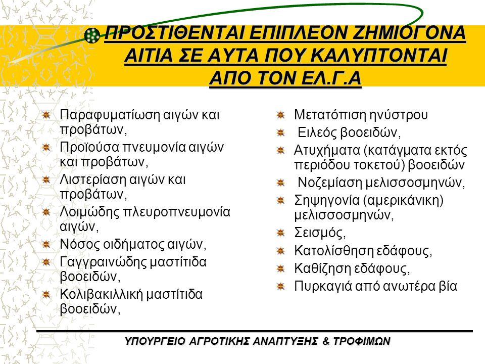 ΥΠΟΥΡΓΕΙΟ ΑΓΡΟΤΙΚΗΣ ΑΝΑΠΤΥΞΗΣ & ΤΡΟΦΙΜΩΝ ΕΛΛΗΝΙΚΟΣ ΟΡΓΑΝΙΣΜΟΣ ΓΑΛΑΚΤΟΣ & ΚΡΕΑΤΟΣ (ΕΛ.Ο.ΓΑ.Κ) (1) Μετονομασία Ελληνικού Οργανισμού Γάλακτος (ΕΛ.Ο.Γ) σε Ελληνικό Οργανισμό Γάλακτος & Κρέατος (ΕΛ.Ο.ΓΑ.Κ) με επέκταση των αρμοδιοτήτων του Οργανισμού στους ελέγχους, στη διενέργεια ισοζυγίων και στην προβολή και προώθηση του ελληνικού κρέατος.