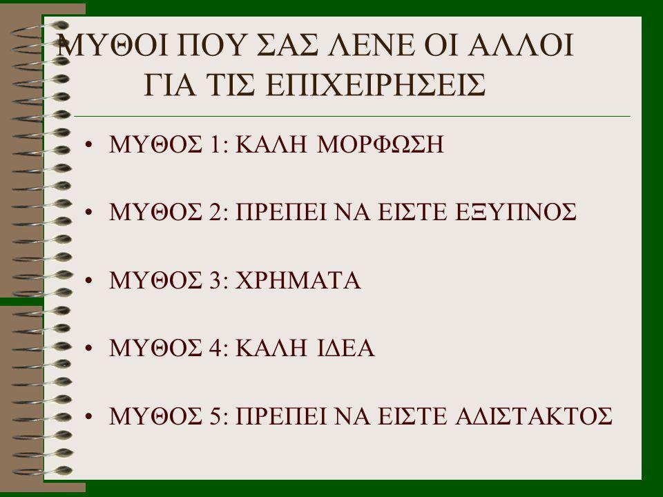 ΜΥΘΟΙ ΠΟΥ ΣΑΣ ΛΕΝΕ ΟΙ ΑΛΛΟΙ ΓΙΑ ΤΙΣ ΕΠΙΧΕΙΡΗΣΕΙΣ •ΜΥΘΟΣ 1: ΚΑΛΗ ΜΟΡΦΩΣΗ •ΜΥΘΟΣ 2: ΠΡΕΠΕΙ ΝΑ ΕΙΣΤΕ ΕΞΥΠΝΟΣ •ΜΥΘΟΣ 3: ΧΡΗΜΑΤΑ •ΜΥΘΟΣ 4: ΚΑΛΗ ΙΔΕΑ •ΜΥΘΟΣ