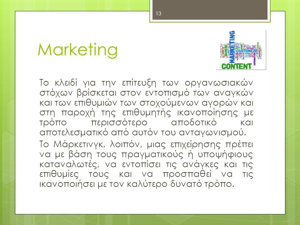 13 Marketing Το κλειδί για την επίτευξη των οργανωσιακών στόχων βρίσκεται στον εντοπισμό των αναγκών και των επιθυμιών των στοχούμενων αγορών και στη