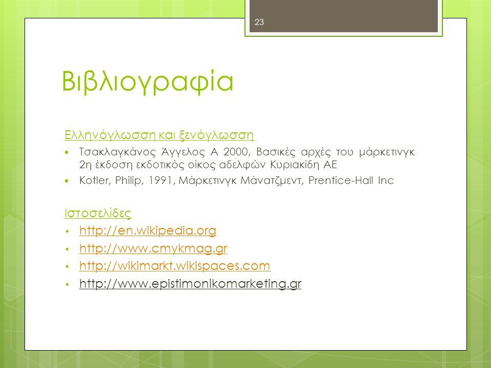 23 Βιβλιογραφία Ελληνόγλωσση και ξενόγλωσση  Τσακλαγκάνος Άγγελος Α 2000, Βασικές αρχές του μάρκετινγκ 2η έκδοση εκδοτικός οίκος αδελφών Κυριακίδη ΑΕ