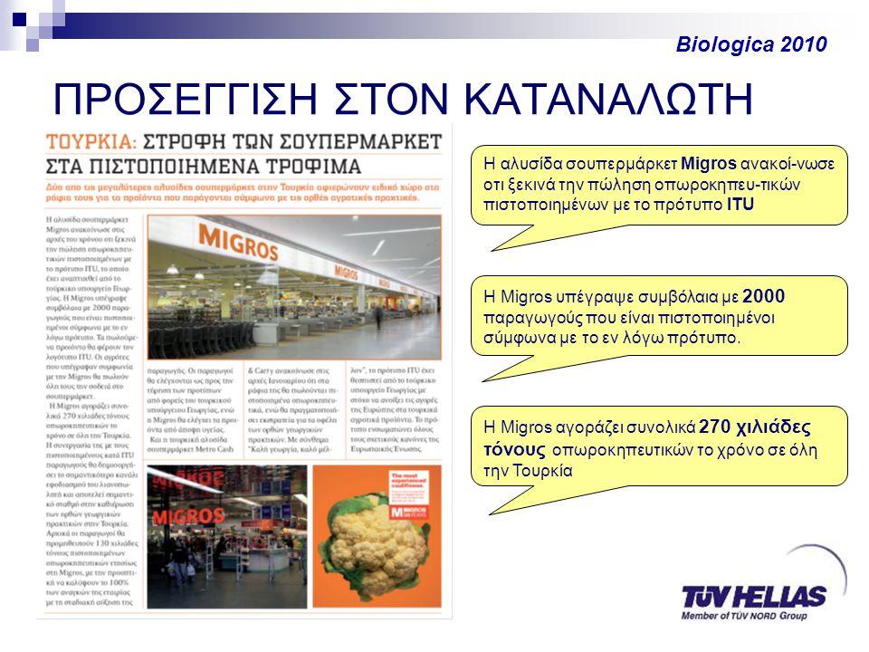 ΠΡΟΣΕΓΓΙΣΗ ΣΤΟΝ ΚΑΤΑΝΑΛΩΤΗ Biologica 2010 Η αλυσίδα σουπερμάρκετ Migros ανακοί-νωσε οτι ξεκινά την πώληση οπωροκηπευ-τικών πιστοποιημένων με το πρότυπο ITU Η Migros υπέγραψε συμβόλαια με 2000 παραγωγούς που είναι πιστοποιημένοι σύμφωνα με το εν λόγω πρότυπο.