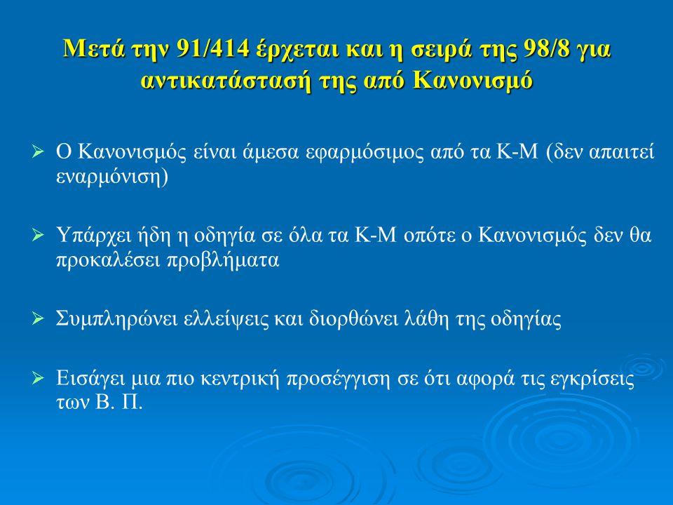 Μετά την 91/414 έρχεται και η σειρά της 98/8 για αντικατάστασή της από Κανονισμό   Ο Κανονισμός είναι άμεσα εφαρμόσιμος από τα Κ-Μ (δεν απαιτεί εναρμόνιση)   Υπάρχει ήδη η οδηγία σε όλα τα Κ-Μ οπότε ο Κανονισμός δεν θα προκαλέσει προβλήματα   Συμπληρώνει ελλείψεις και διορθώνει λάθη της οδηγίας   Εισάγει μια πιο κεντρική προσέγγιση σε ότι αφορά τις εγκρίσεις των Β.