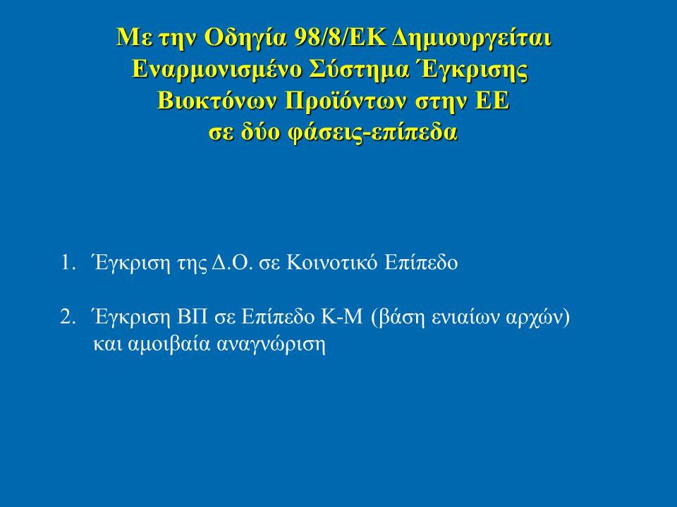 Με την Οδηγία 98/8/ΕΚ Δημιουργείται Εναρμονισμένο Σύστημα Έγκρισης Βιοκτόνων Προϊόντων στην ΕΕ σε δύο φάσεις-επίπεδα 1.Έγκριση της Δ.Ο. σε Κοινοτικό Ε