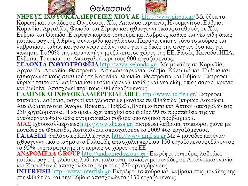 Θαλασσινά ΝΗΡΕΥΣ ΙΧΘΥΟΚΑΛΛΙΕΡΓΕΙΕΣ ΧΙΟΥ ΑΕ http://www.nireus.gr/ Με έδρα το Κορωπί και μονάδες σε Οινούσσες, Χίο, Αιτωλοακαρνανία, Ηγουμενίτσα, Εύβοια, Κορινθία, Αργολίδα, Φωκίδα και Σέριφο και ιχθυογεννητικούς σταθμούς σε Χίο, Εύβοια και Φωκίδα.