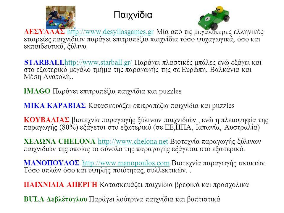 Παιχνίδια ΔΕΣΥΛΛΑΣ http://www.desyllasgames.gr Μία από τις μεγαλύτερες ελληνικές εταιρείες παιχνιδιών παράγει επιτραπέζια παιχνίδια τόσο ψυχαγωγικά, όσο και εκπαιδευτικά, ξύλιναhttp://www.desyllasgames.gr STARBALLhttp://www.starball.gr/ Παράγει πλαστικές μπάλες ενώ εξάγει και στο εξωτερικό μεγάλο τμήμα της παραγωγής της σε Ευρώπη, Βαλκάνια και Μέση Ανατολή..