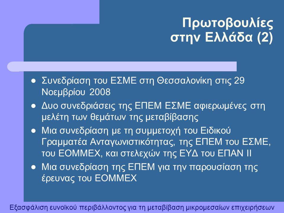 Εξασφάλιση ευνοϊκού περιβάλλοντος για τη μεταβίβαση μικρομεσαίων επιχειρήσεων  Συνεδρίαση του ΕΣΜΕ στη Θεσσαλονίκη στις 29 Νοεμβρίου 2008  Δυο συνεδ